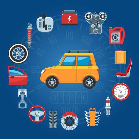 piezas coche: Piezas de automóvil de concepto de conjunto de iconos. ilustración vectorial
