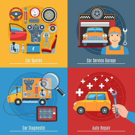 motors: Colorful Flat Car Service Concept Set. Vector illustration Illustration