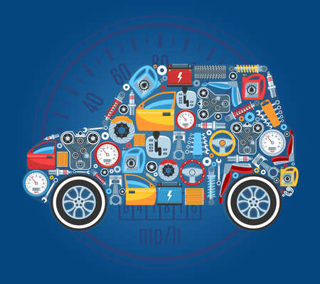 Car Shape Concept Background. Vector Illustration