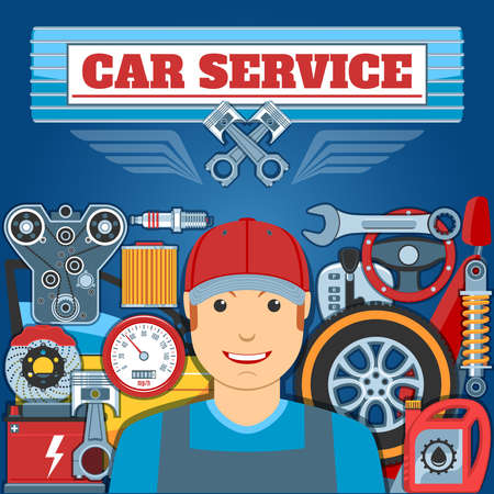 Car Service Concept With Mechanic And Auto Parts. Vector illustration