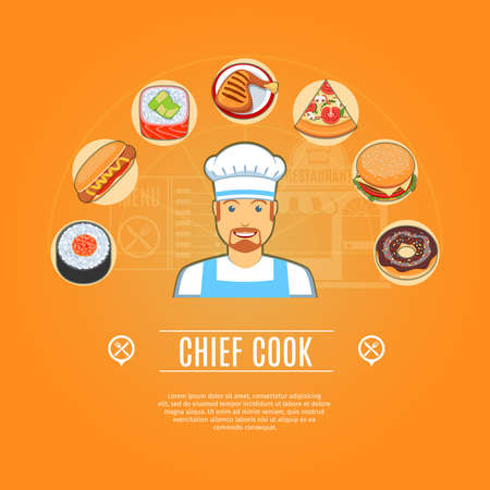 chief: Chief Cook Concept Icons Set. Vector illustration