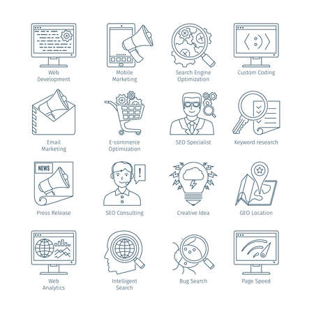 Thin Line Icons Set Of Search Engine Optimization. Infographics Objects And Web Elements Collection Illustration
