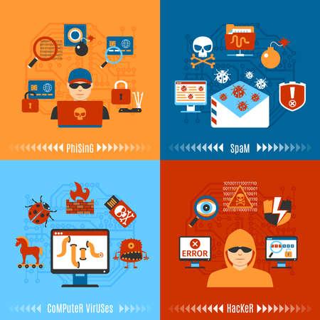 cavallo di troia: Colorful Hacker piatto e virus informatici Concetto Set. illustrazione di vettore Vettoriali