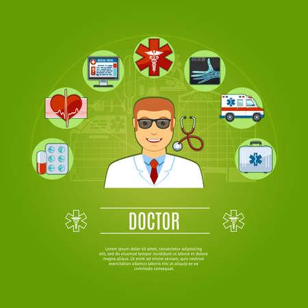 Doctor Concept Icons Set. vector illustratie Vector Illustratie