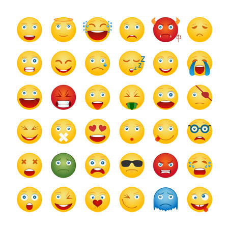 white smile: Set Of Emoticons. Smile Icons Isolated On White Background. Vector Illustration Illustration