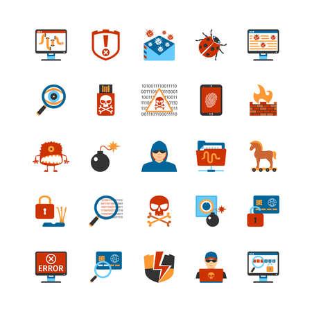 Conjunto de piso Iconos del diseño del pirata informático. Aislado de la ilustración del vector