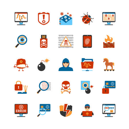 icono ordenador: Conjunto de piso Iconos del diseño del pirata informático. Aislado de la ilustración del vector