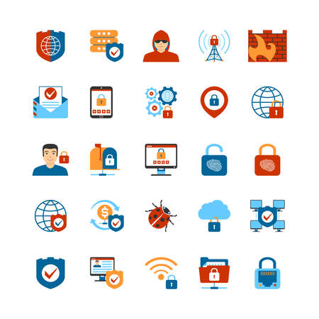 Set Of Flat Design Internet Security Icons. Isolated Vector Illustration