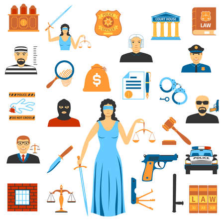 prosecutor: Set Of Flat Design Law And Justice Icons. Isolated Vector Illustration