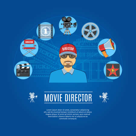 produces: Movie Director Concept Icons Set. Vector illustration