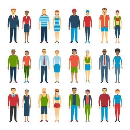 personas de pie: Conjunto de personas de pie en el fondo blanco. Diferentes estilos de vestir. Ilustración del vector