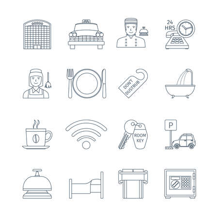 transportation facilities: Thin Line Icons Set Of Hotel Service. Infographics Objects And Web Elements Collection