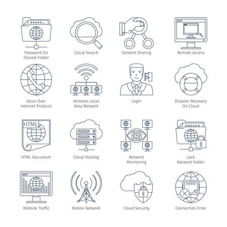 application icons: Internet And Network Thin Line Icons Set. Infographics Objects And Web Elements Collection