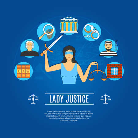 lady justice: Lady Justice Concept Icons Set.