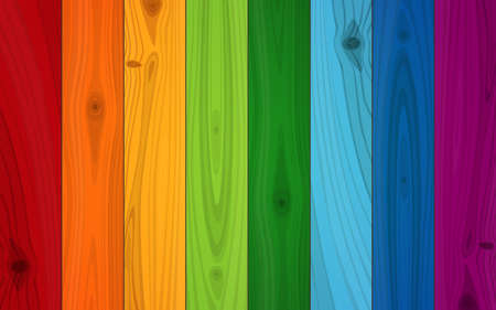 Multicolored Boards In Colors Of Rainbow Wood Texture Background.