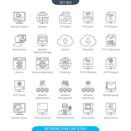 tcp ip: Thin Line Icons Set Of Data And Network. Web Elements Collection Stock Photo