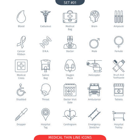 hospital trolley: Thin Line Icons Set Of Medical and Health Care. Web Elements Collection