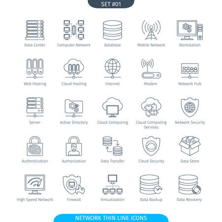 data line: Thin Line Icons Set Of Data And Network. Web Elements Collection Stock Photo