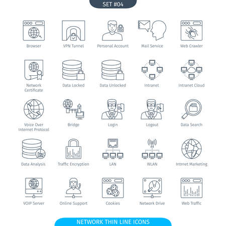 vpn: Thin Line Icons Set Of Data And Network. Web Elements Collection Stock Photo