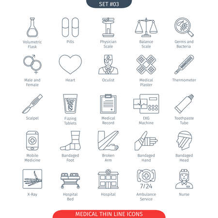 volumetric flask: Thin Line Icons Set Of Medical and Health Care. Web Elements Collection
