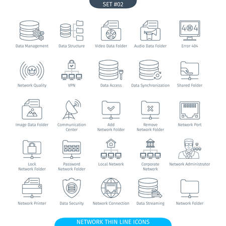 data line: Thin Line Icons Set Of Data And Network. Web Elements Collection Illustration