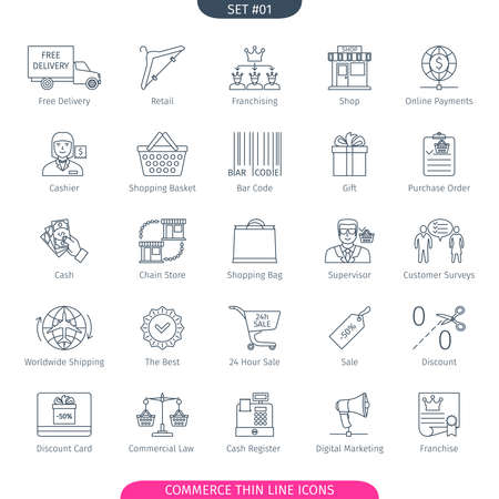 purchase order: Commerce And Shopping Thin Line Icons Set. Web Elements Collection