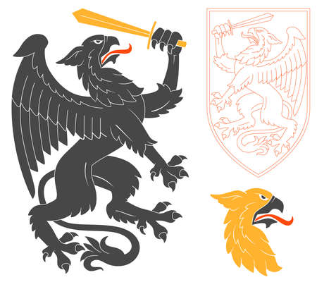 Black Griffin Illustration For Heraldry Or Tattoo Design Isolated On White Background. Heraldic Symbols And Elements 일러스트