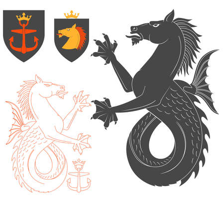 hippocampus: Black Hippocampus Illustration For Heraldry Or Tattoo Design Isolated On White Background. Heraldic Symbols And Elements Illustration
