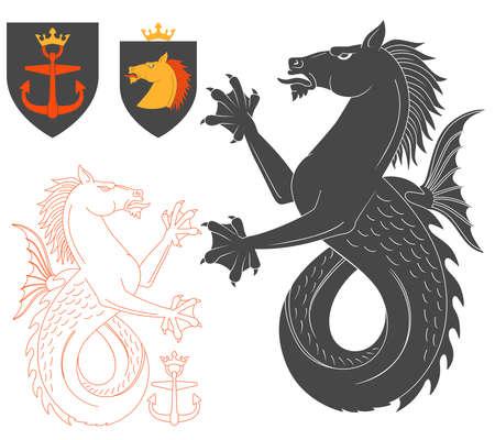 kelpie: Black Hippocampus Illustration For Heraldry Or Tattoo Design Isolated On White Background. Heraldic Symbols And Elements Illustration