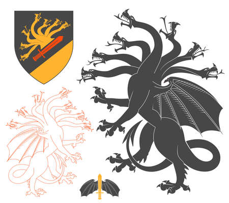 creature: Black Hydra Illustration For Heraldry Or Tattoo Design Isolated On White Background. Heraldic Symbols And Elements