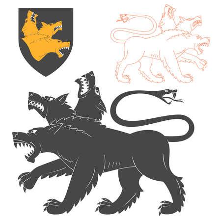 heraldic symbols: Black Cerberus Illustration For Heraldry Or Tattoo Design Isolated On White Background. Heraldic Symbols And Elements Illustration