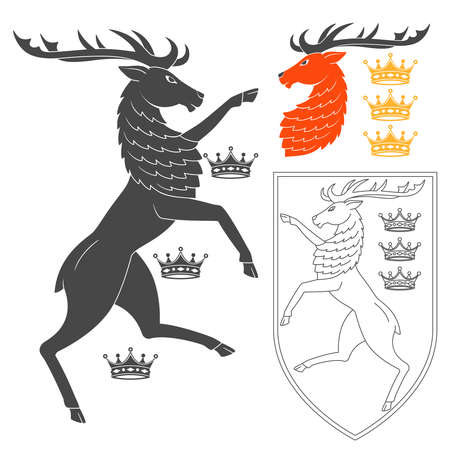 Noble Deer Illustration For Heraldry Or Tattoo Design Isolated On White Background. Heraldic Symbols And Elements