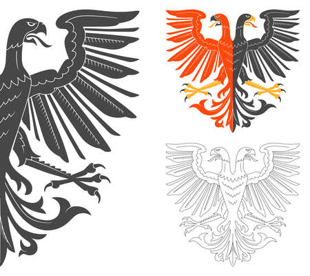 double headed eagle: Double Headed Eagle Illustration For Heraldry Or Tattoo Design Isolated On White Background. Heraldic Symbols And Elements