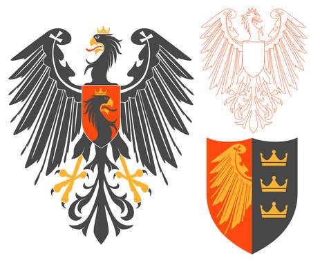 insignia: Negro de Eagle Ilustración Para Heráldica diseño del tatuaje o sobre fondo blanco. Símbolos y elementos heráldicos Vectores