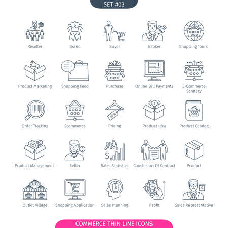 web shopping: Commerce And Shopping Thin Line Icons Set. Web Elements Collection
