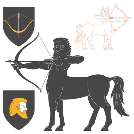 firing: Shooting Centaur Archer Illustration For Heraldry Or Tattoo Design Isolated On White Background. Heraldic Symbols And Elements