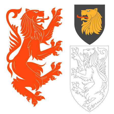 rampant: Red Lion Illustration For Heraldry Or Tattoo Design Isolated On White Background. Heraldic Symbols And Elements