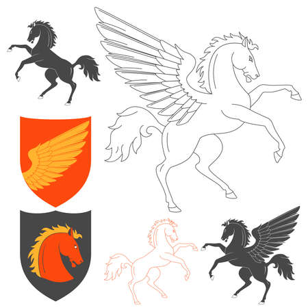 illustration isolated: Pegasus And Horse Illustration For Heraldry Or Tattoo Design Isolated On White Background. Heraldic Symbols And Elements