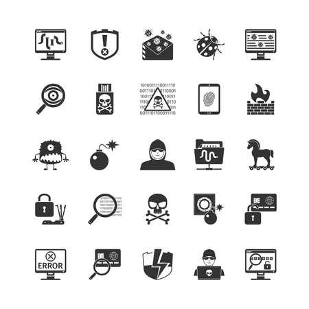 cavallo di troia: Hacker nero Set di icone. Isolati Illustrazione Vettoriale Vettoriali
