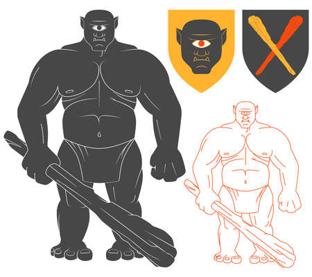 single eyed: Cyclops with a club Illustration For Heraldry Or Tattoo Design Isolated On White Background. Heraldic Symbols And Elements Illustration