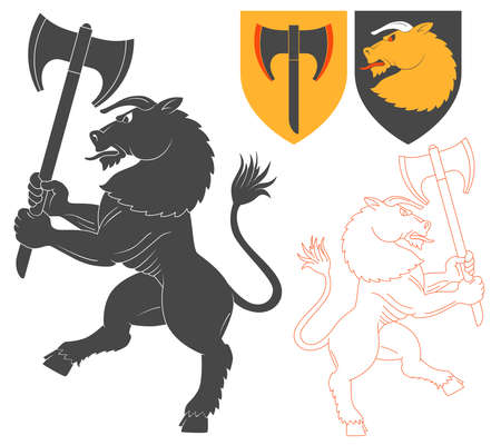 Minotaur with a Axe Illustration For Heraldry Or Tattoo Design Isolated On White Background. Heraldic Symbols And Elements