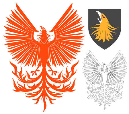 Red Soaring Phoenix Bird Illustration For Heraldry Or Tattoo Design Isolated On White Background. Heraldic Symbols And Elements