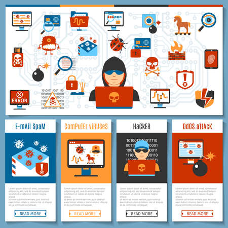 computer viruses: Colorful Flat Hacker And Computer Viruses Concept Set. Vector illustration