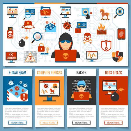 icono ordenador: Hacker plana colorido y virus informáticos concepto establecido. ilustración vectorial Vectores