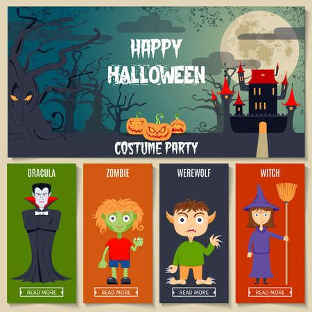 silhouette maison: Ensemble de concept coloré d'Halloween plat. Illustration vectorielle