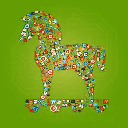 cavallo di troia: Trojan Horse Forma concetto di fondo. illustrazione vettoriale