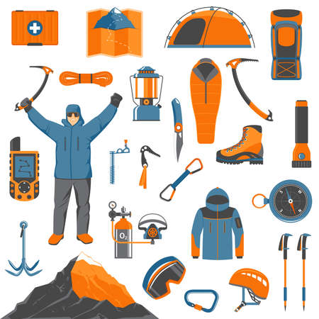 Set Of Colorful Cartoon Mountaineering, Climbing, Hiking And Trekking Elements And Icons For Your Design. Modern Flat Vector Illustration