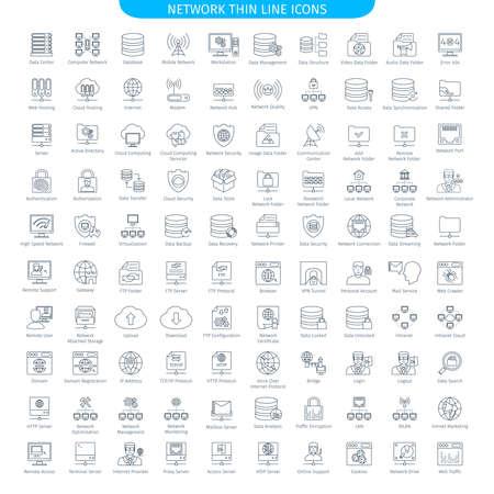 100 は薄いデータベース サーバーおよびネットワー キングの線アイコン セットです。Web 要素コレクション  イラスト・ベクター素材