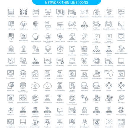 One Hundred Thin Line Icons Set Of Database Server And Networking. Web Elements Collection Иллюстрация