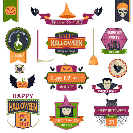 drakula: Set Of Colorful Happy Halloween Badges And Labels. Ribbons, Flat Icons And Other Elements. Vector Illustration